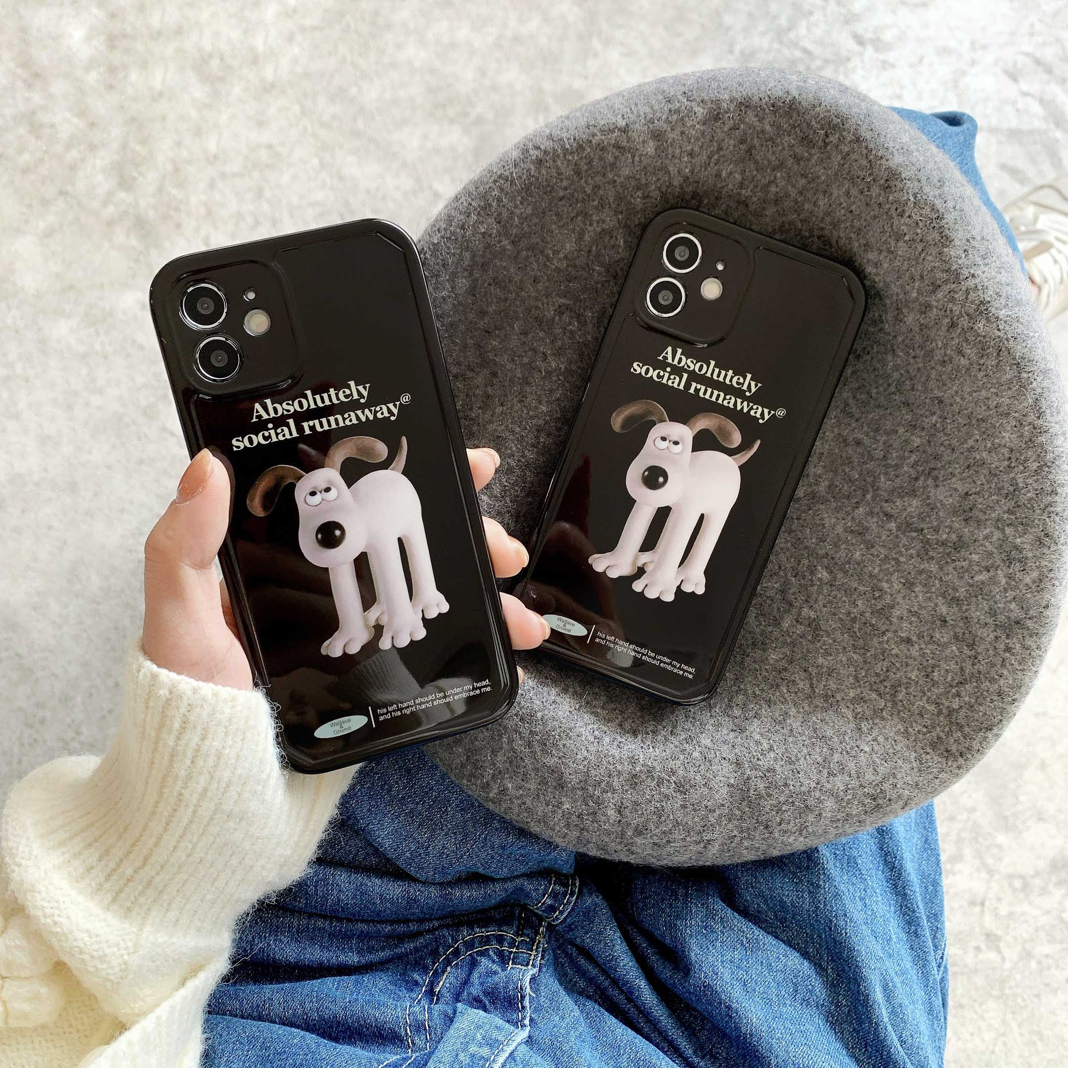 Cute Cartoon Dog Phone Case For Iphone 12 Pro Case IMD Soft INS Korea Silicone Non-Slip For Iphone XR X XS MAX 7 8 Plus Fundas