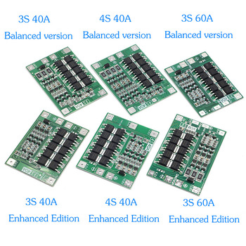 3S/4S 20 40A 60A Li-ion Lithium Battery Charger Protection Board 18650 BMS Drill Motor 11.1V 12.6V/14.8V 16.8V Enhance/Balance image