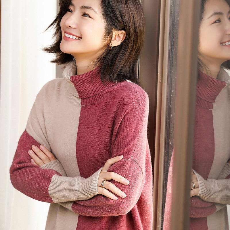 BELIARST automne et hiver nouveau haut col 100% pur cachemire pull femmes épais pull lâche pull décontracté grande taille