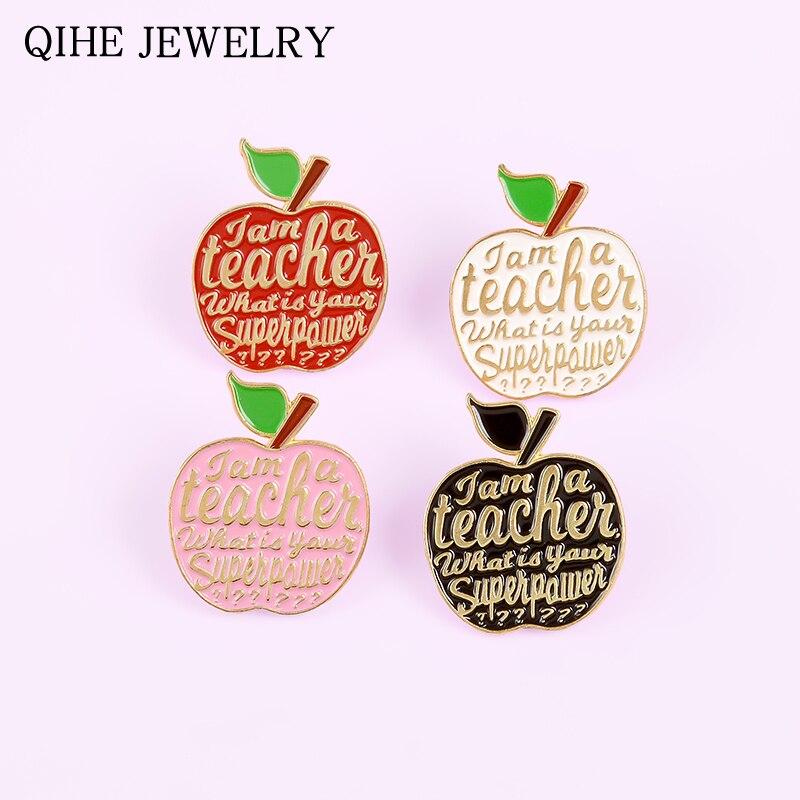 Супер Мощность яблоки эмаль на булавке на 4 вида цветов Броши в виде растений изготовленный на заказ значок булавки на лацканы учитель просв...