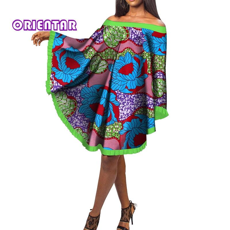 Fashion Bat Sleeve Dress Women African Print Bazin Riche Traditional African Clothing Cotton Slash Neck Short Dresses WY153