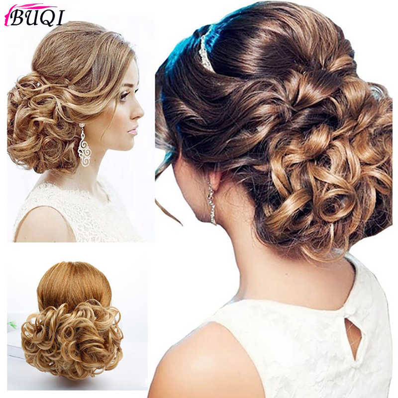 Buqi Mode vrouwen Bun Synthetische Elastische Netto Kam Clip In Hair Extension Bridal Pruik Broodje