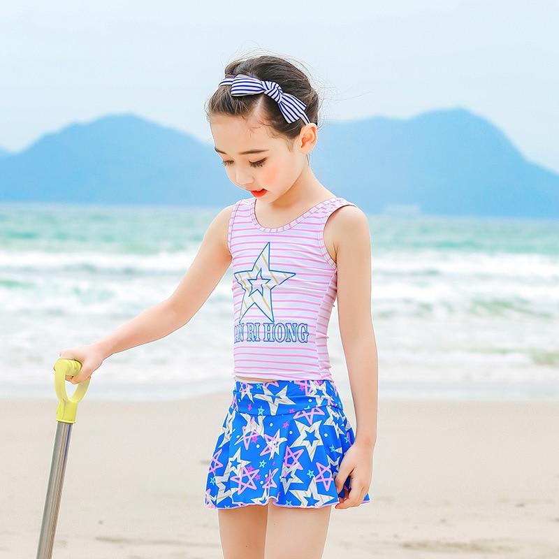 KID'S Swimwear GIRL'S Split Skirt-GIRL'S Swimsuit Baby Girls Big Boy CHILDREN'S Princess Cute Tour Bathing Suit