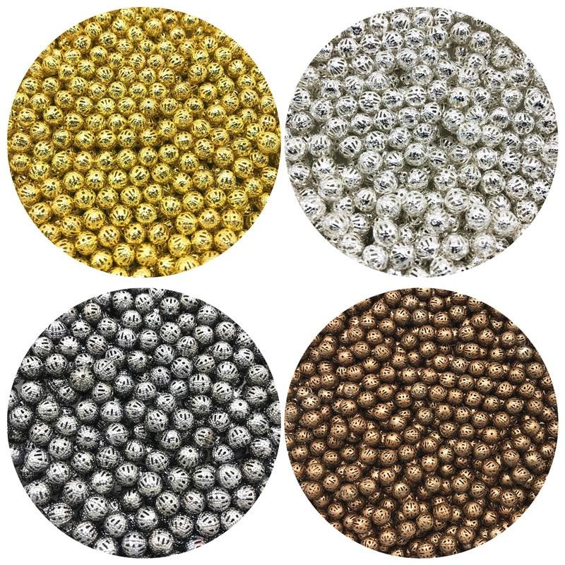 Круглые металлические бусины для изготовления ювелирных изделий, 4/6/8/10 мм, 30-200 шт.