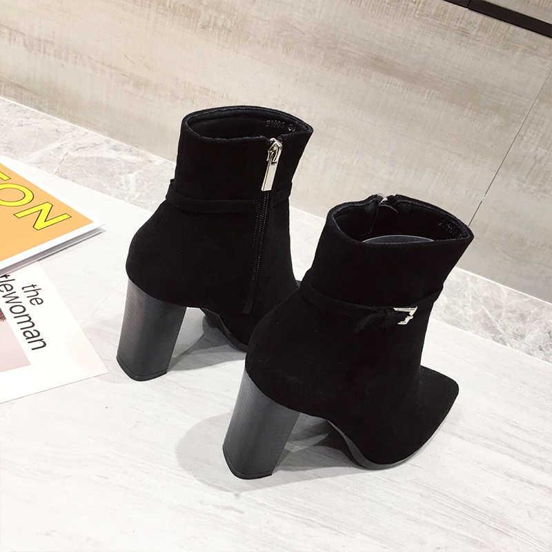 Botte hiver femme stiefeletten High heel booties starke mit schwarz frauen stiefel warme winter stiefel Herbst Winter Weibliche 2019 slip Auf
