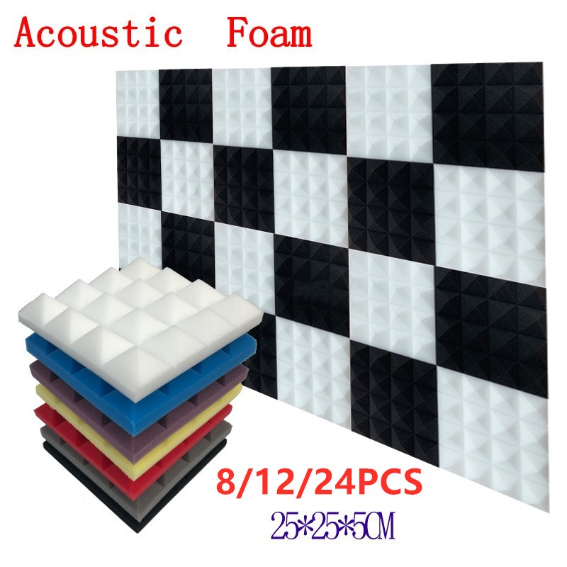 250x250x50mm 8/12/24pcs Studio Acoustic Soundproof Foam Pyramid Sound Absorption Treatment Panel Tile Wedge Protective Sponge