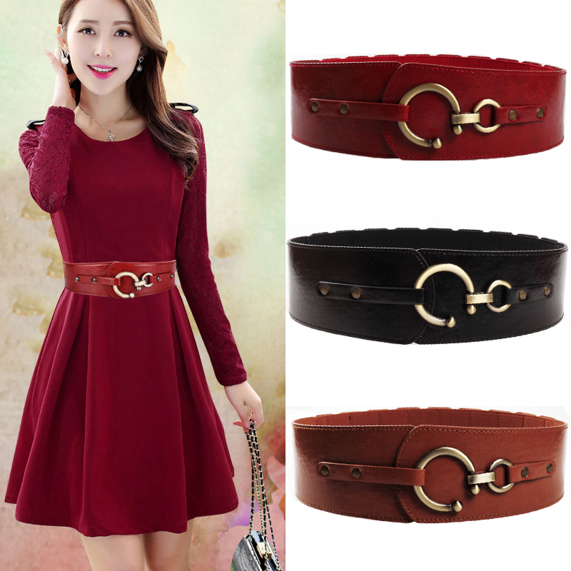 New Fashion Leather Wide Belts For Women's Dress Buckle Free Elastic Cinch Stretch Cummerbunds Women Waistband Ladies Adornment
