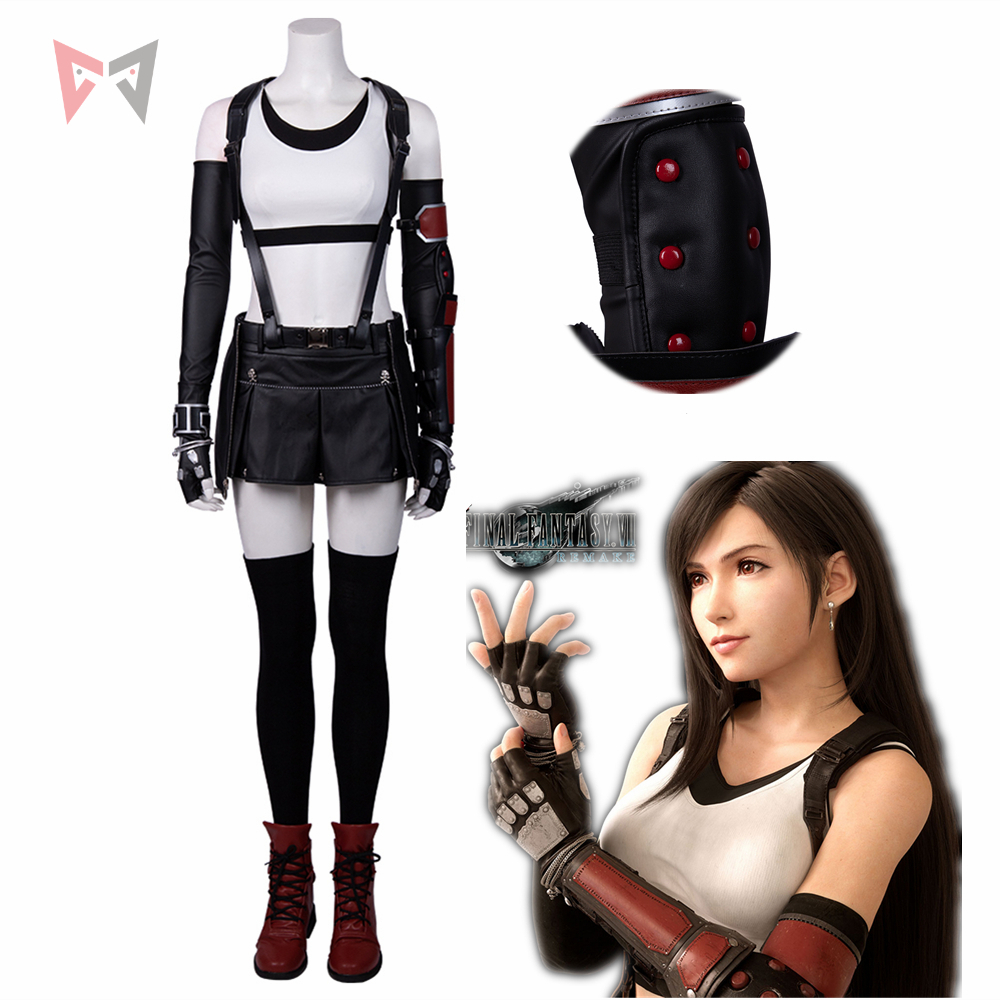 Final Fantasy Tifa Lockhart Cosplay Costume Warm-up Suit Ff7 Sewing Halloween Sexy Clothes For Girl Women Custom Made