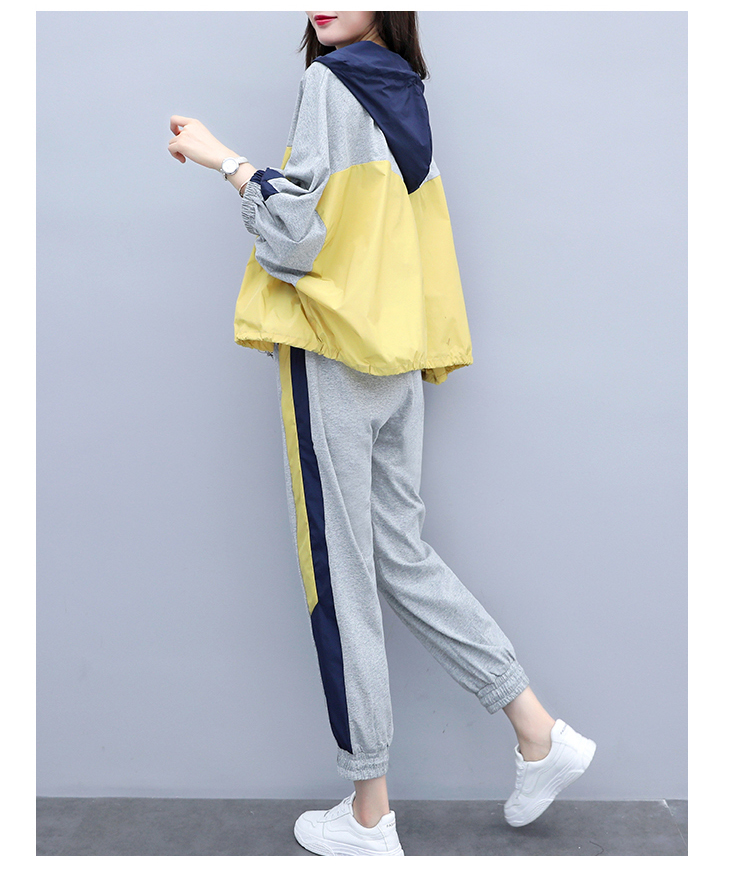 Grey Sport Casual Two Piece Sets Outfits Tracksuits Women Plus Size Hooded Tops And Pants Suits Spring Autumn Fashion Loose Sets 30