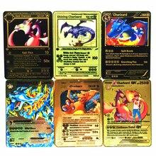 Takara tomy pokemon metal jogo de cartas anime batalha cartão ouro charizard pikachu coleção cartão brinquedos para crianças presente natal