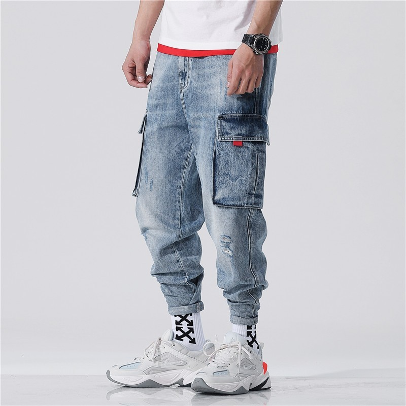 Harajuka Hip Hop Pockets Vintage Cowboy Cargo Harem Pants Ankle Length Loose Casual Jogging Trousers Plus Size 28-42 Streetwear