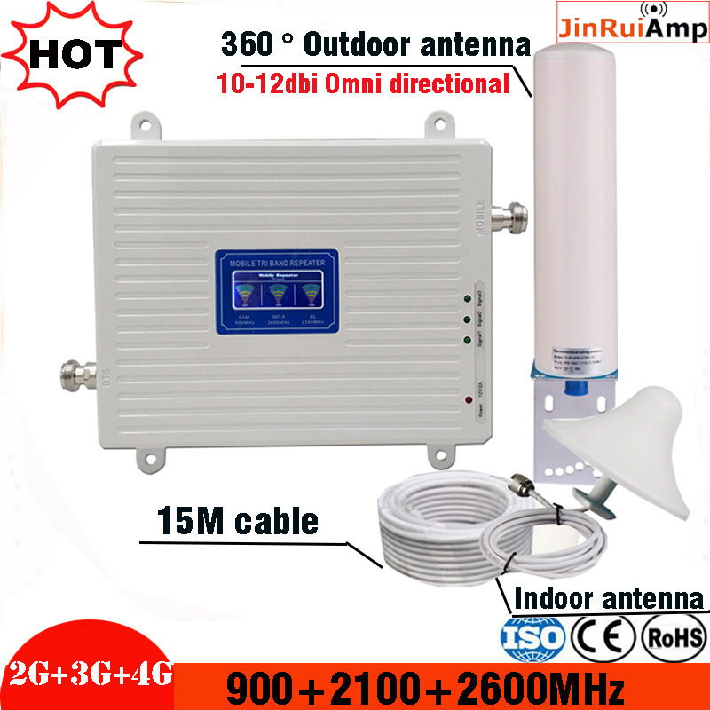 2g 3g 4g Tri Band Signal Repeater Gsm 900 2100 2600 GSM WCDMA UMTS LTE Cellular Signal Booster 900/2100/2600mhz Amplifier Kit