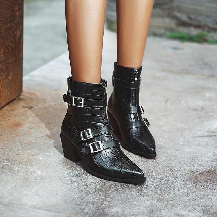 Avrupa güzellik botları kış yeni sivri kemer tokası moda kalın mizaç Martin çizmeler 2019 kısa çizmeler büyük boy