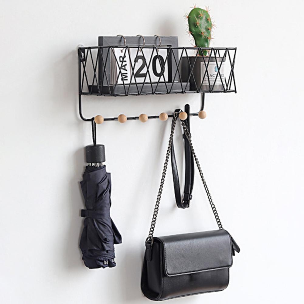חדש 1pc מתכת עץ קיר הר אחסון מדף מתלה סל תלוי עם ווים ספר מפתח תיק מחזיק מדפי בית אחסון ארגונית