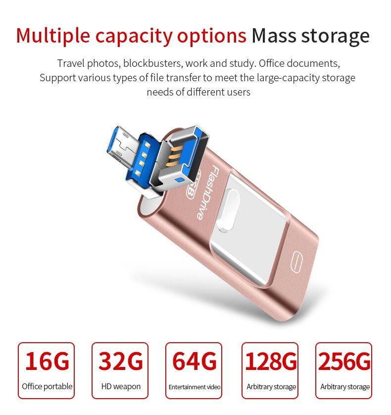 Otg USB Flash Drive 3 In1 For IPhone X/8/7/7 Plus/6/6s/5/SE/ipad Usb 3.0 Pendrive HD Memory Key Stick 16GB 32GB 64GB 128GB 256GB