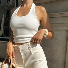 Sexy White Halter Backless Tank Tops for Women Streetwear 2021 Casual Sleeveless Shirts Ribbed Knit Vest Top Cropped Feminino