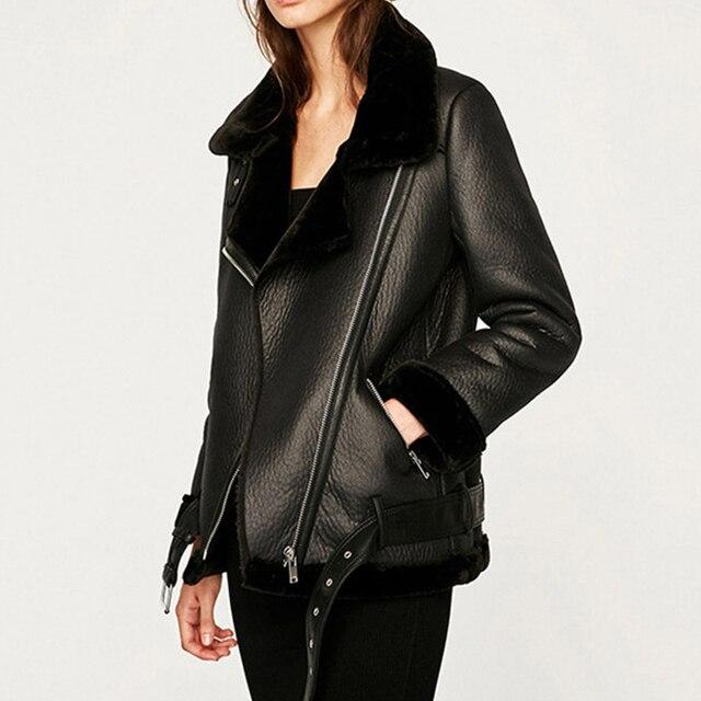 Ailegogo veste d'hiver en Faux cuir, femme, fourrure épaisse, fausse peau de mouton, aviateur vêtements d'extérieur 2