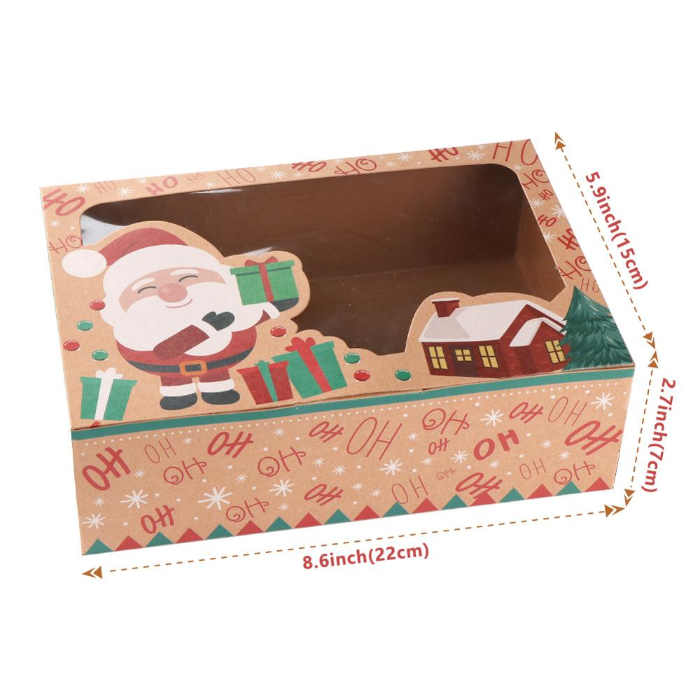 OurWarm-12-24pcs-Kraft-Paper-Christmas-Cookie-Gift-Boxes-with-Clear-Window-22-15-7cm-New (3)