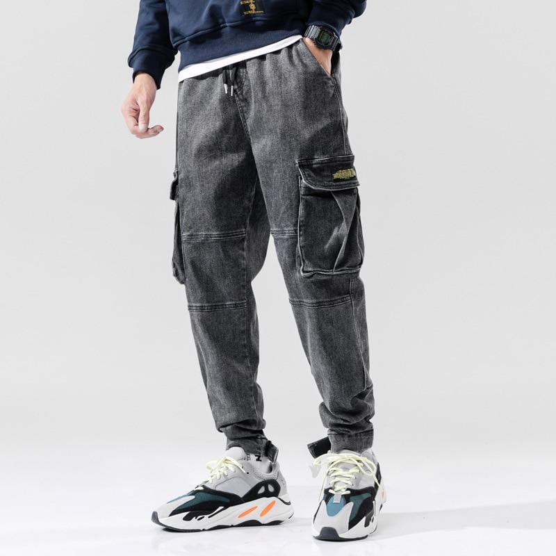 Japanese Style Fashion Men Jeans Black Gray Color Retro Wash Loose Fit Big Pocket Cargo Pants Harem Trousers Hip Hop Jeans Men