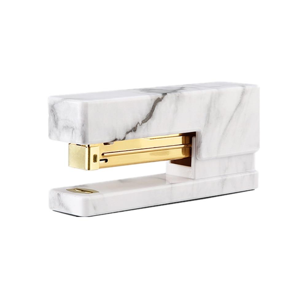 Marble Print Stapler 20 Sheet Capacity Gold Glitter Desktop Staplers With Non-slip Base For School Office Home Stapling Supplies