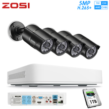 ZOSI 4 Channel HD 5MP 4-in-1 AHD CVBS CVI TVI Nightvision Security Detection Video Camera System with CCTV Bullet Camera DVR Kit