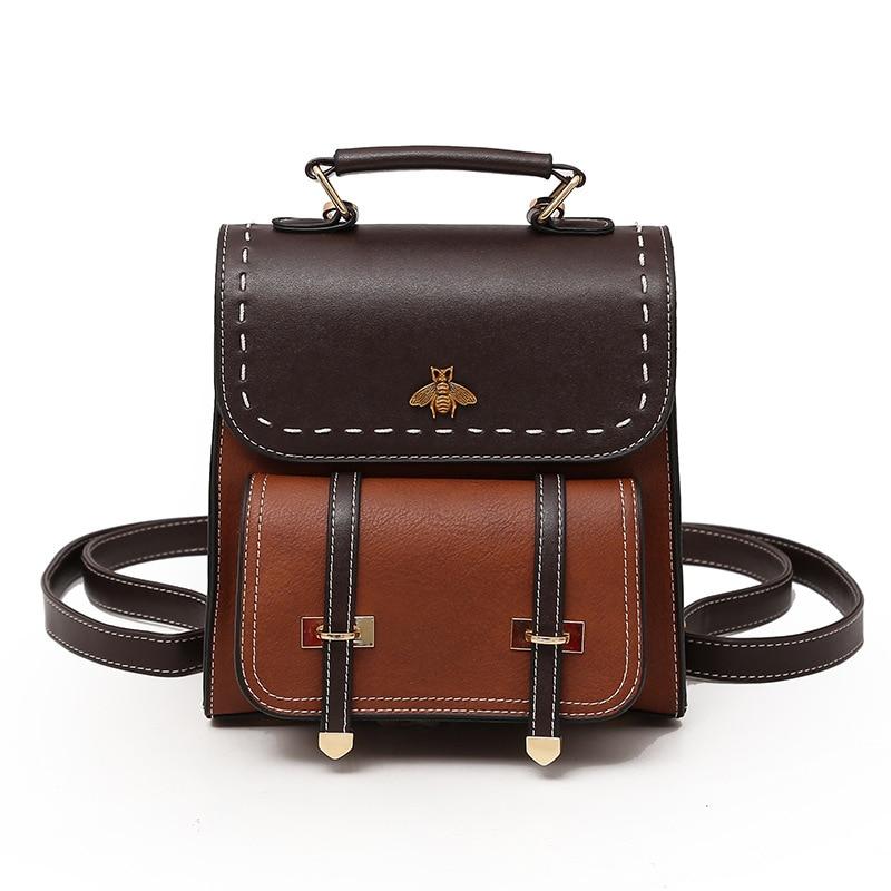 BELLELIFE Classic Vintage Leather Backpack for Women Preppy Style Backpacks Ladies Travel Bag Female School Girl Mochila