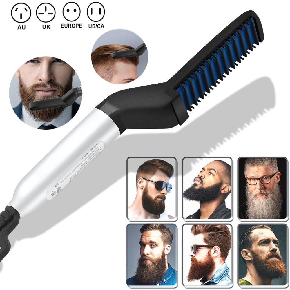 Hair Straighten Comb Brush Beard Straightener Multifunctional   Electric Beard Straightening Comb Quick Hair Styler For Men