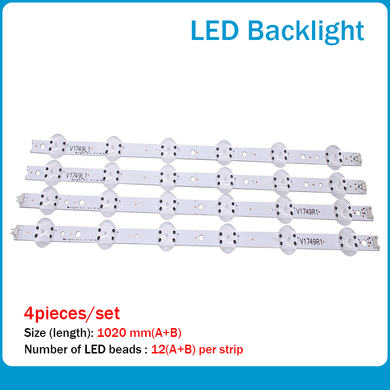 New Kit 4 PCS LED Strip For LG 49UV340C 49UJ6565 49UJ670V V17 49 R1 L1 ART3 2862 2863 6916L-2862A 6916L-2863A