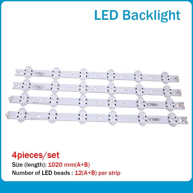 New Kit 4 PCS LED Strip For LG 49UV340C 49UJ6565 49UJ670V V17 49 R1 L1 ART3 2862 2863 6916L-2862A 6916L-2863A
