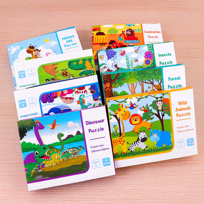 8 Style Animals Paper Jigsaw Puzzles Educational Puzzle For Children Kids Toys Brain Training Games Toys For Children Baby Gift