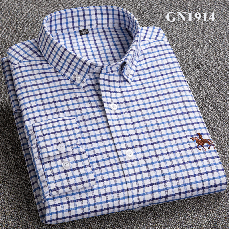 S-6XL Plus size New  OXFORD FABRIC 100% COTTON excellent comfortable slim fit button collar business men casual shirts tops 20
