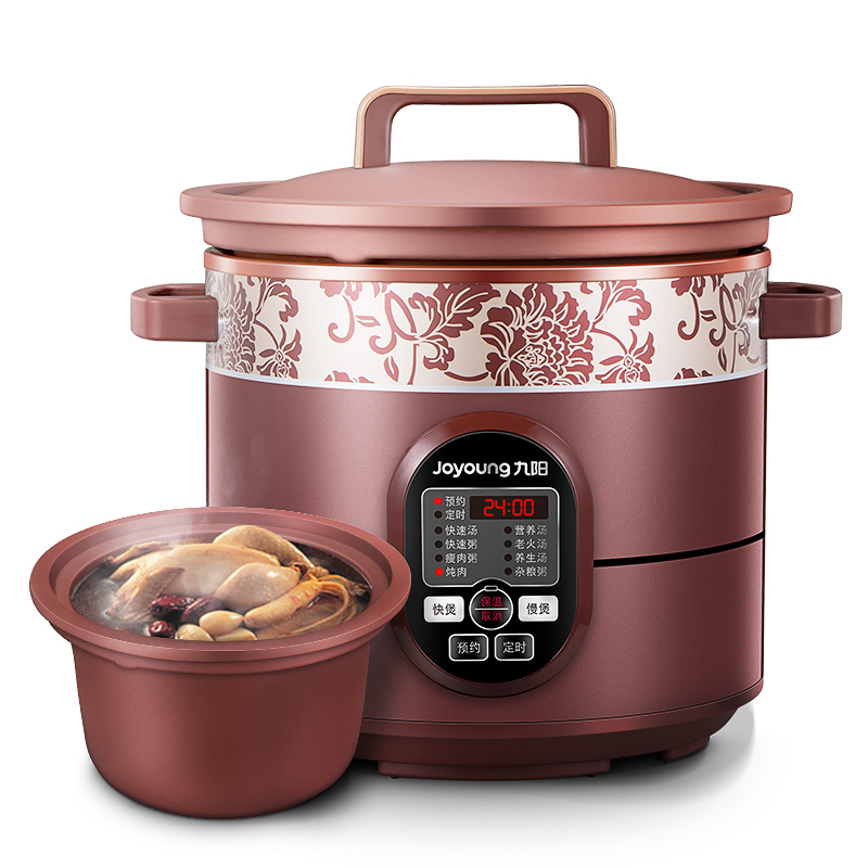 Jy29 4L/5L Certified True Redware Electric Slow / Rapid Cookers Soup Stewing Machine Reservation 8 Functions Digital Timer