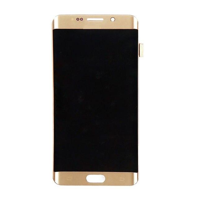 ORIGINAL 5.7 AMOLED LCD para SAMSUNG Galaxy s6 borda Mais G928 G928F Exibição Digitador Da Tela de Toque Com a Linha