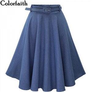 Image 1 - 2019 Autumn Winter Fashion Women Skirt Vintage Retro High Waist Pleated Midi Skirt Denim Flared Belt Skirt Saia Femininas SK098