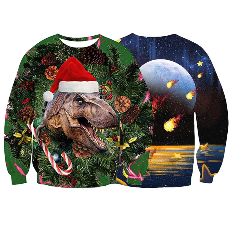 Men's Women's 2019 Ugly Christmas Sweater Vacation Santa Funny Christmas Jumper Autumn Winter Christmas Sweater Foute Kersttrui