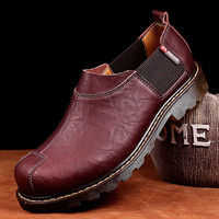 Original 2019 Men Working Shoes Wine Red Leather Young Casual Shoes Rubber Bottom Men Ankle Work Boots Large Size Boots For Men