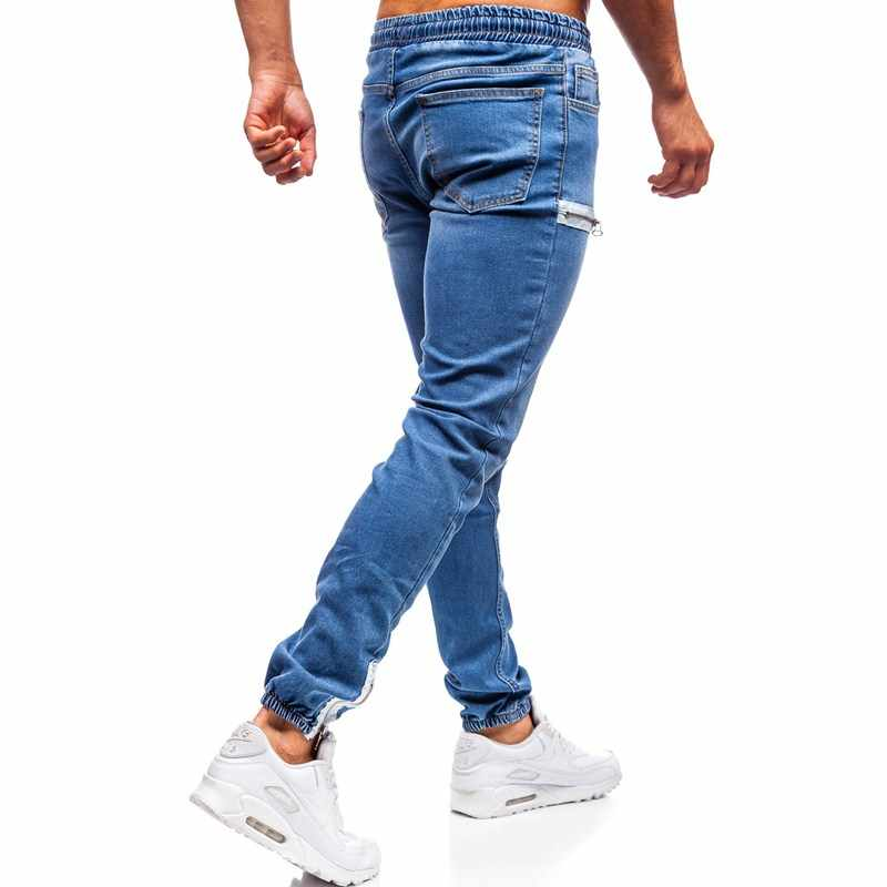 3 أنماط الرجال بسط نحيل السائق سليم صالح الدينيم الرجال متعدد جيب زيبر سروال شكل قلم رصاص الرجال جينز غير رسمي موضة بناطيل كاجوال