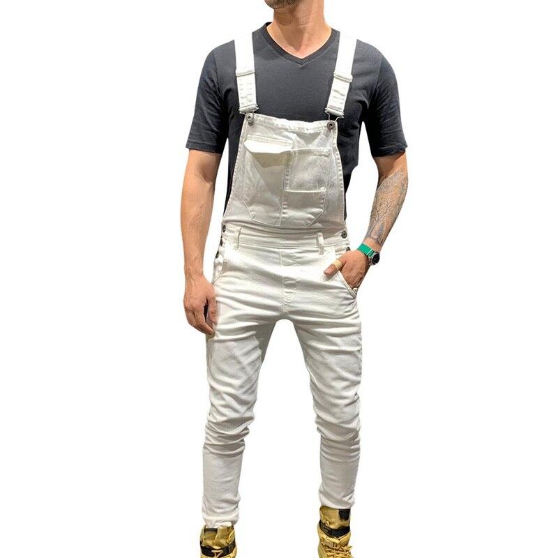 HEFLASHOR Men Adjustable Shoulder Strap Slim Denim Overalls Bib Pants Jumpsuit Fashion Overalls Joggers Men Suspender Pants 2019