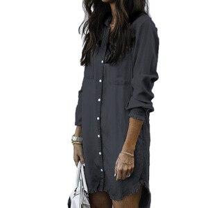 Image 4 - Lguc.H camicia Jeans donna Vintage 2020 camicia di Jeans camicia oversize donna taglie forti taglie forti donna alta sciolta grigio blu verde 5xl 4xl