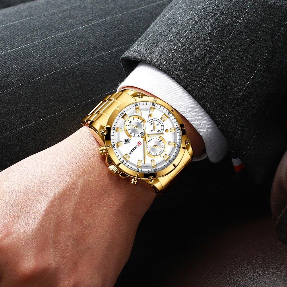 negócios banda de ouro branco dial quartzo