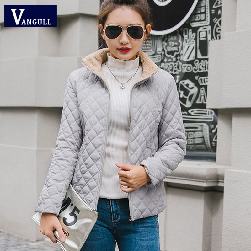 Vangull Winter Fleece   Basic     Jacket   Long Sleeve Solid Female Coat 2019 New Stand Collar Zipper Casual Plus velvet lamb Outerwear