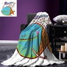 Детское одеяло с цифровой печатью для рыбалки, милое, большое, толстое, с изображением рыбы, с флагом, с цитатой любви, юморное, веселое, детское, тематическое, летнее, стеганое одеяло