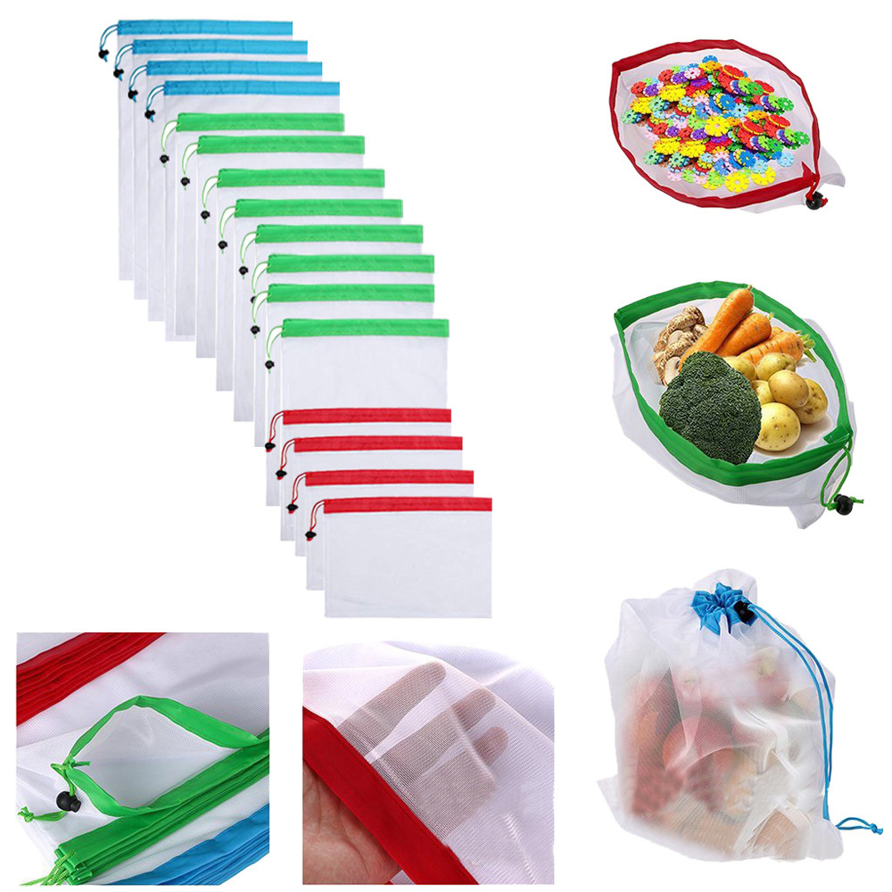 16pcs Reusable Produce Bags Washable Bags Shopping Vegetable Fruit Toys Storage  Crossbody Bag Drawstring Bag Hot Sale 2020