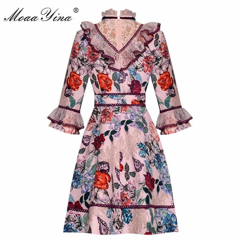 MoaaYina модное дизайнерское подиумное платье Весна Лето Женское платье воротник стойка сетка оборки цветочный принт платья