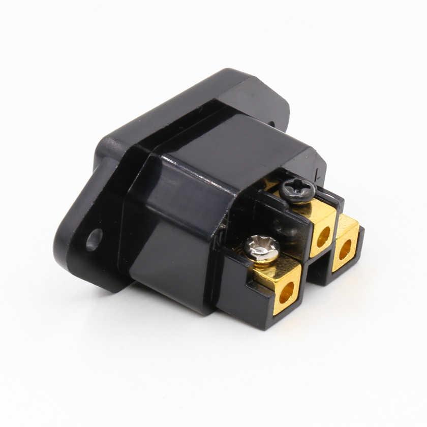 Stukken FI-07 (G) 24K vergulde IEC Socket Mains Power Inlet Socket Mannelijke Panel Entry Plug