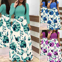 LOSSKY Plus Größe frauen Sommer Druck Nähte Blume Beiläufige Lange Kleid 2019 Vestido Bodycon Elegante Sexy Lady Maxi Kleid frauen