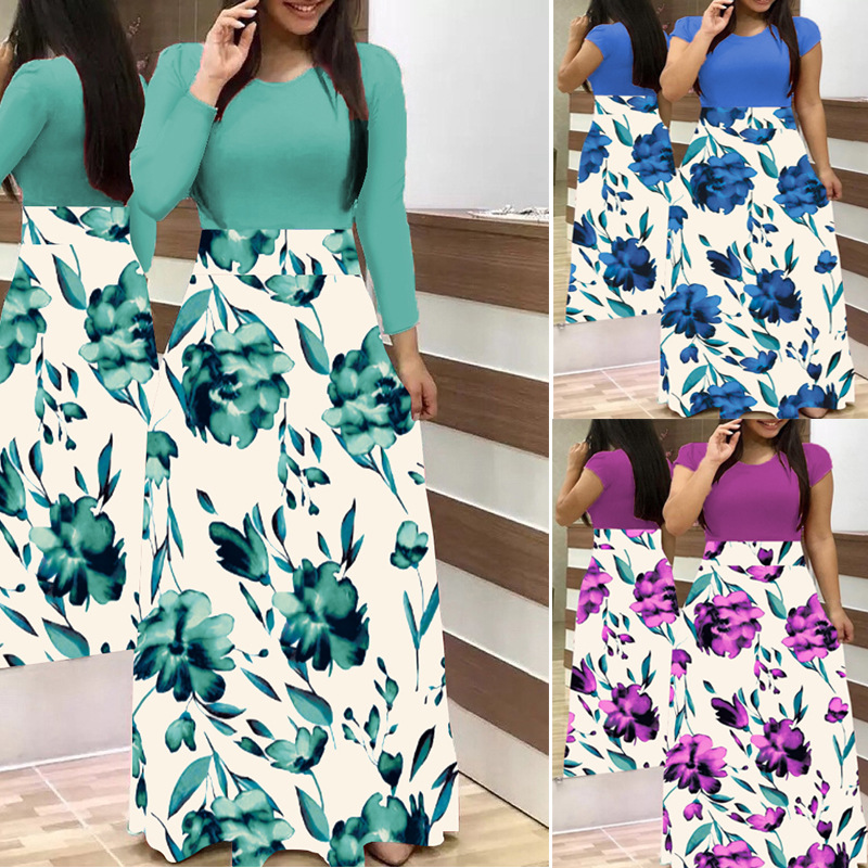 LOSSKY Plus Size Women's Summer Print Stitching Flower Casual Long Dress 2019 Vestido Bodycon Elegant Sexy Lady Maxi Dress Women