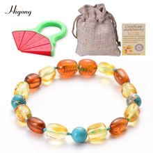 HIYONG Amber Teething Bracelet Baltic for Baby Natural Beads Kids Jewelry