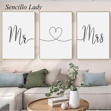 Peinture sur toile avec inscription Mr. Mrs Heart, calligraphie minimaliste, noir et blanc, affiche décorative imprimée, décor de maison, cadeau pour Couple amoureux