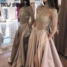Luxo robe de soiree frisado vestidos de noite meninas arábia saudita 2020 uma linha vestido de baile kaftans turco vestidos pageant